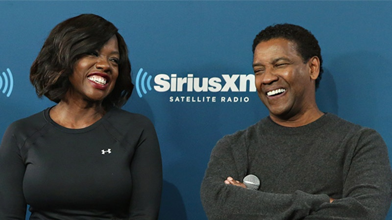 NEW YORK, NY - DECEMBER 19: Actors Viola Davis, Denzel Washington and Saniyya Sidney (front) take part in SiriusXM's Town Hall With the cast of 'Fences' hosted by Karen Hunter on December 19, 2016 in New York City. (Photo by Cindy Ord/Getty Images for SiriusXM) *** Local Caption *** Viola Davis; Denzel Washington; Saniyya Sidney